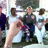 10-14-99---Sharon McAfee the director of the Women's Center of East Texas, right, rings bells with others left to right---Jeanne Wesley, Tommie Lilly, Becky Porter, and Ashley Porter,  Thursday afternoon at the Magrill Park on First Street in Longview. The Ringing in Awareness was to commemorate October as domestic violence awareness month. Kevin Green