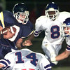 10-29-99--Pine Tree's #9 runs with the ball after makinbg a reception during the second quarter of play against Henderson in Longview. Kevin GReen