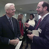 10/19/99---Dr. W.D. Nothcutt III, left, of the Good Shepherd Medical Center Foundation chats with hospital community case manager David Secord at a re-dedication of the James Ray Northcutt Reception Foyer. The hospital received a $1 million donation from the estate of James Ray Northcutt. bahram mark sobhani