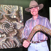 9/9/99----Simon T. Cain with some of his Australian artwork at his gallery on East Marshall Ave. in Longview. Kevin green