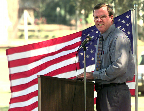 9/16/99---City of Longview's Paul Boorman community services director, speaks to a crowd gathered from the grand opening on the South Ward Park Thursday monring on Mobberly Ave. in Longview. Kevin Green