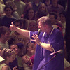 9/15/99---Evangelist Monty Hipp gives a thumbs-up sign to an audience of teenagers during a youth rally Wednesday at Lobo Coliseum. Students from area schools converged in the evening, following the morning's See You at the Pole activities. bahram mark sobhani