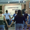 9/27/99---Students gather to pray outside the LISD administrative building Monday evening just before the board of education's meeting to reconsider a resolution on student solemnization. bahram mark sobhani