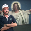 9/9/99---Former inmate Wayne Strickland stands in front of a mural he painted at the Newgate Mission in Longview. Kevin green