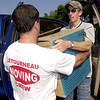LeTourneau university faculty member Wayne Jacobs, left, lends a hand to incoming freshman Ivan Chatham, right, of Springfield,  Colorado as he moves in to the dorm Thursday August 23, 2001 at LeTourneau university in Longview. Kevin green