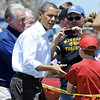 Globe/T. Rob Brown President Barack Obama shakes hands with tornado victims Sunday afternoon, May 29, 2011, near Joplin High School.