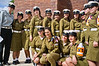 Military Policewomen pose for a group photo prior to the Wreath-Laying Ceremony on Holocaust Martyrs' and Heroes' Remembrance Day in the Warsaw Ghetto Square at Yad-Vashem. Jerusalem, Israel. 19-Apr-2012.