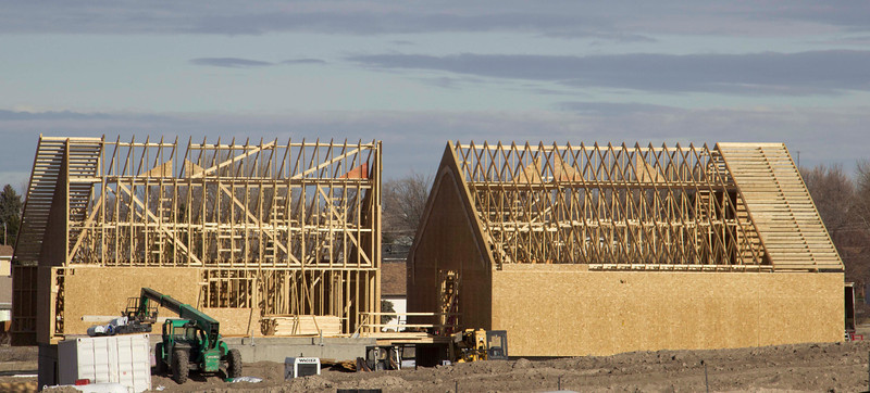 Construction progresses on Unit 2 of Eagle Ridge housing over the winter break. (Tena L. Cook/Chadron State College)