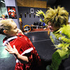 Joey Williams (right), 14, of Neosho, portrays the Grinch as he scares Kailan Peters, 10, of Carl Junction, portraying Cindy Lou Who during a rehearsal for the ballet version of The Grinch Monday evening, Dec. 2. 2013, at the Midwest Regional Ballet owned by Kaye Lewis, artistic director.<br /> Globe   T. Rob Brown