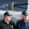 "Globe/T. Rob Brown Richard (left) and father Ken La Near stand next to a gunport Ken would have manned during World War II on the B-17 he flew in with the US Army Air Corps, during a recent father-son flight in a restored B-17G, ""Sentimental Journey"" Friday morning, June 14, 2013."