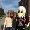 Incoming Chadron State College student Kate Basler of Akron, Colorado, and her older sister, Chris, pose with Elmo prior to the April 18 Signing Day. (Photo by Tena L. Cook)
