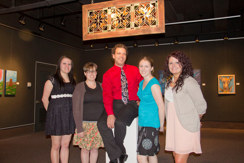 "Kelly Overshiner, Tiffany Schank, Chris Green, Nicole Folchert and Brittney DeBord pose in the Main Gallery of Memorial Hall with their senior art show entitled ""Take Five."" A reception March 29, 2013 honored the artists. Their show will be open until April 10."