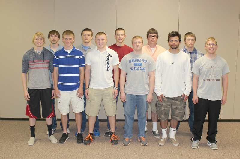 The Chadron State College chapter of the Blue Key National Honor Society inducted 11 men Tuesday night in the Student Center. Front row, left to right, Jacob Almanrode, Barrett Browne, Tyrel Grasz, Garrett Westman, Cole Montgomery and Scott Fraser. Back row, Luke Miller, Devan Fors, Kale Lytle, Jacob Palmer and Dylan Fors. (Courtesy photo)