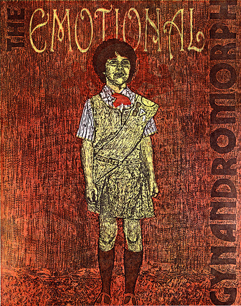 """The Emotional Gynandromorph"" - pressure print and reductive woodcut by Benjamin D. Rinehart, 2012. This and other related pieces in the ""imPRINT"" show will be on display in the Chadron State College Memorial Hall Gallery 239 March 17-April 4."