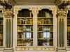 Library room reflected in the glass doors of the bookcases, Christiansborg Palace, Copenhagen, Denmark