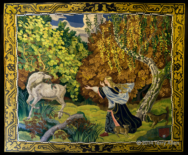 Gobelin tapestry from the 1920's (woman and stag), Christiansborg Palace, Copenhagen, Denmark