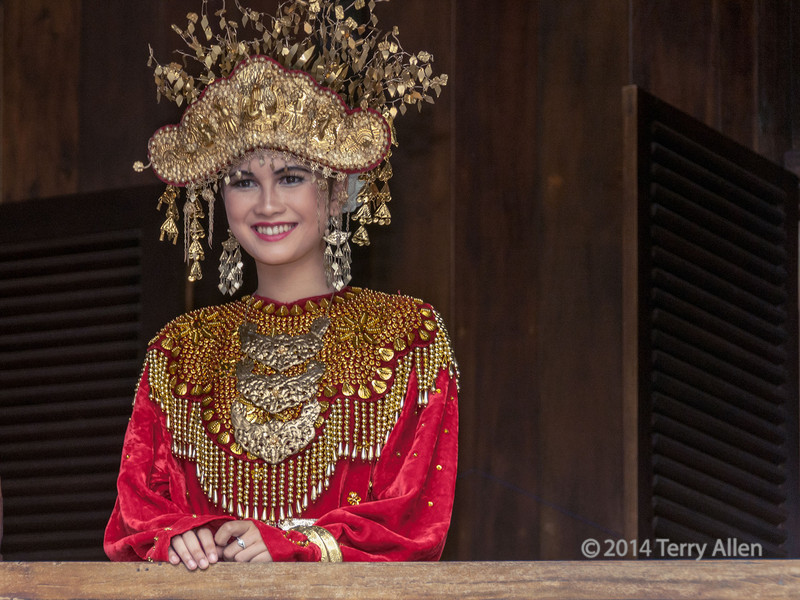 Bride appearing on balcony, Belitulng, Sumatra