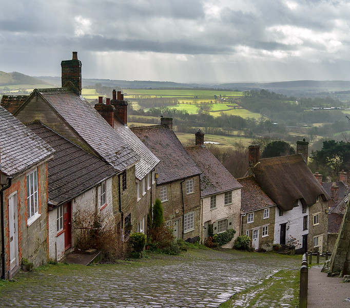 29th Jan 2015:  Distant sunlight at Gold Hill in Shaftsbury