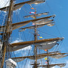 Looking up the sails of a boat in Halifax, Nova Scotia
