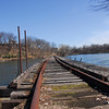 Wooden bridge crossing Fox River in Appleton, Wisconsin