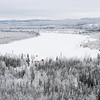 Yukon River covered in snow in Dawson City, Yukon, Canada