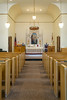 The interior sanctuary of the Vikur Lutheran Church in Mountain, North Dakota, USA.