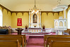The interior sanctuary of the  Pioneer Lutheran Church in Gardar, North Dakota, USA.