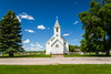 The Pioneer Lutheran Church exterior in Gardar, North Dakota, USA.