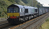 66424, 4S44, Hest Bank, Wed 13 August 2014 - 1532.  DRS's 1213 Daventry - Coatbridge.  NB in front of the loco one of the wedges holding the newly dropped long welded rails in position.