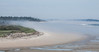 Phippsburg, Maine beach scene, Small Point, Seawall Beach looking east, fog rising from the ocean