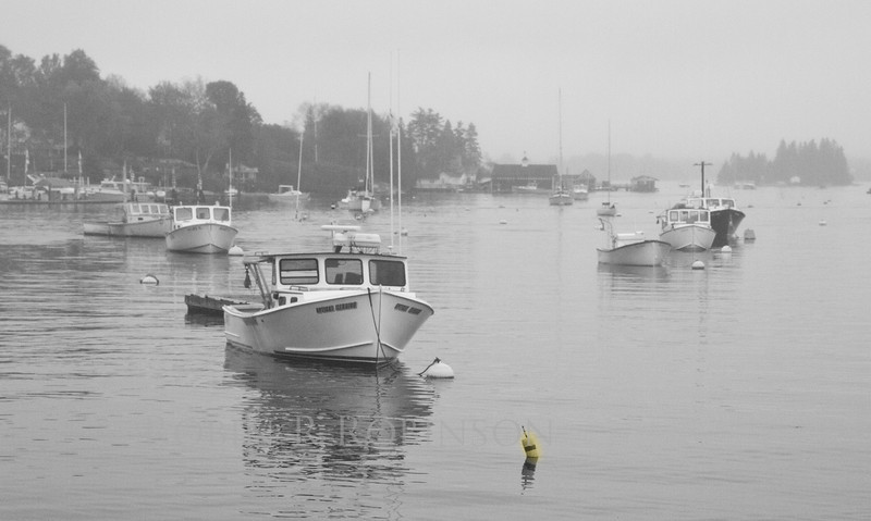 Lobster boat in harbor shrouded in fog, study in black and white with single yellow bouy, Boothbay Harbor, Linekin Bay, Maine