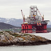 Oil rig in norwegian fjord  landscape