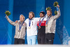 Andrew Weibrecht took silver and Bode Miller tied for bronze in the men's Olympic super G at Rosa Khutor. Kjetil Jansrud from Norway won gold, Jan Hudec from Canada tied for bronze. 2014 Olympic Winter Games - Sochi, Russia. Men's Alpine Super G medals ceremony Photo: Sarah Brunson/U.S. Ski Team