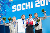 Andrew Weibrecht took silver and Bode Miller tied for bronze in the men's Olympic super G at Rosa Khutor. Kjetil Jansrud from Norway won gold, Jan Hudec from Canada tied for bronze.<br /> 2014 Olympic Winter Games - Sochi, Russia.<br /> Men's Alpine Super G medals ceremony<br /> Photo: Sarah Brunson/U.S. Ski Team