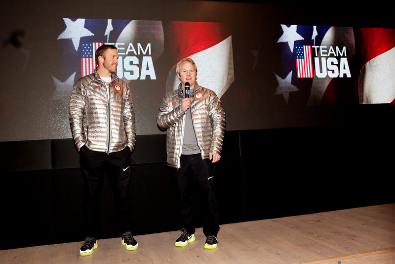 Bode Miller and Andrew Weibrecht<br /> 2014 Olympic Winter Games - Sochi, Russia.<br /> Bode Miller and Andrew Weibrecht at USA House after medaling in Super G<br /> Photo: Sarah Brunson/U.S. Ski Team