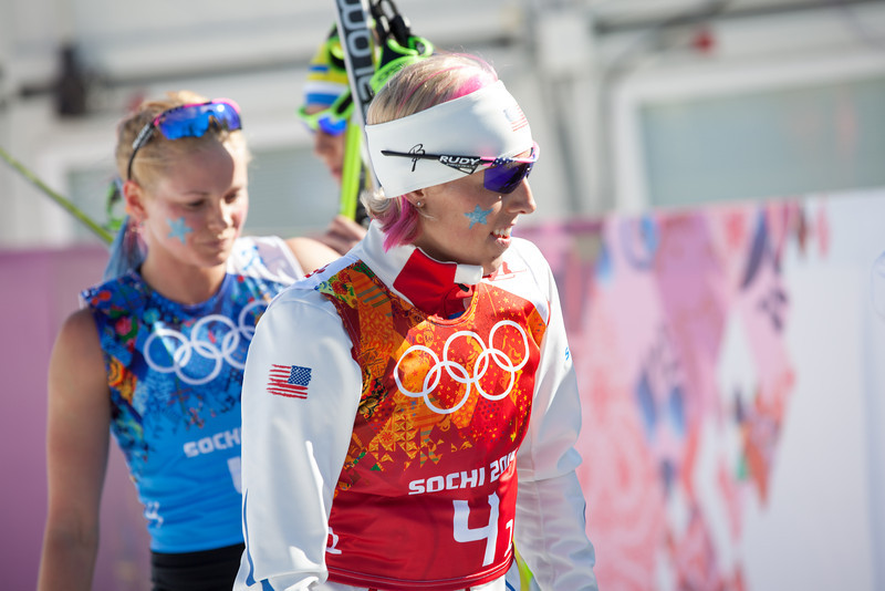 Kikkan Randall (r) and Jessie Diggings (l) 2014 Olympic Winter Games - Sochi, Russia. Women's Cross Country 4x5 Team Relay  Photo: Sarah Brunson/U.S. Ski Team