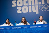 (l-r) Jessica Jerome, Sarah Hendrickson, Lindsey Van<br /> 2014 Olympic Winter Games - Sochi, Russia.<br /> Women's ski jumping press conference<br /> Photo: Sarah Brunson/U.S. Ski Team