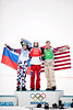 Silver medalist, Nikolay Olyunin, RUS, gold medalist, Pierre Vaultier, FRA, bronze medalist, Alex Diebold, USA<br /> 2014 Olympic Winter Games - Sochi, Russia.<br /> Men's Snowboardcross<br /> Photo: Sarah Brunson/U.S. Snowboarding