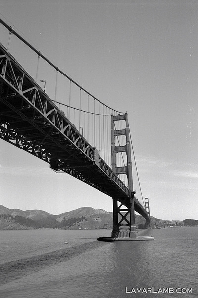 Golden Gate Bridge, San Francisco, CA.  Camera - Nikon FM; Lens - Nikkor 24mm f/2.8 AIs; Film - Ilford PanF Plus 50 developed in Kodak XTOL.  Scanned with Nikon CoolScan V ED.