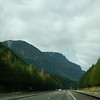 Driving on the highway through Columbia River Gorge