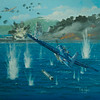 Painting at the Evergreen aviation and Space Museum showing the Goodyear FG-1D - Corsair Fighter in action