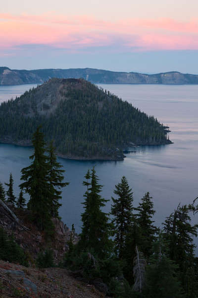 Crater Lake at sunset,  with Wizard Island. Taken in Crater Lake National Park, Oregon, USA.