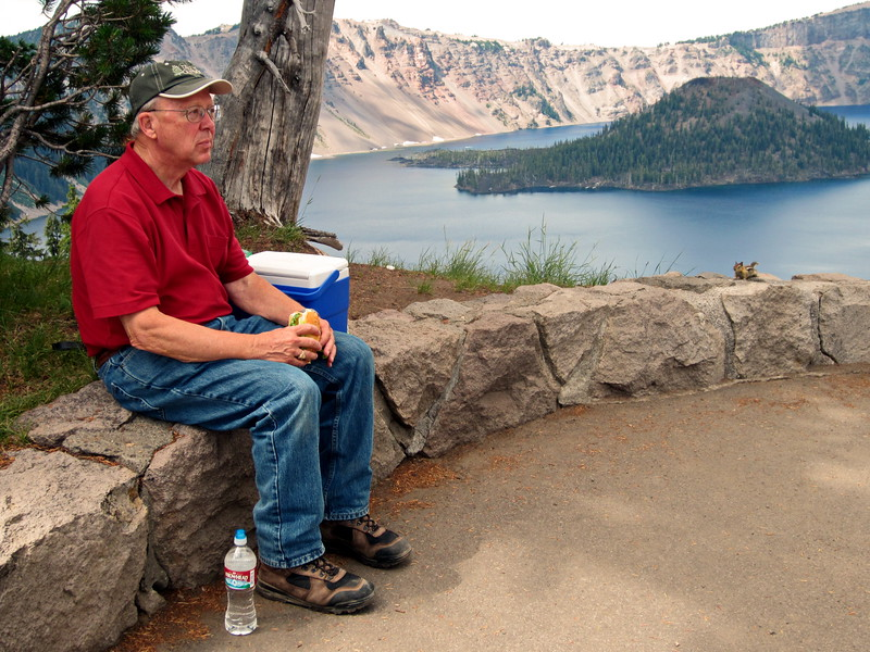 Bob enjoying lunch with goldne-mantled ground squirrel at Crater Lake NP