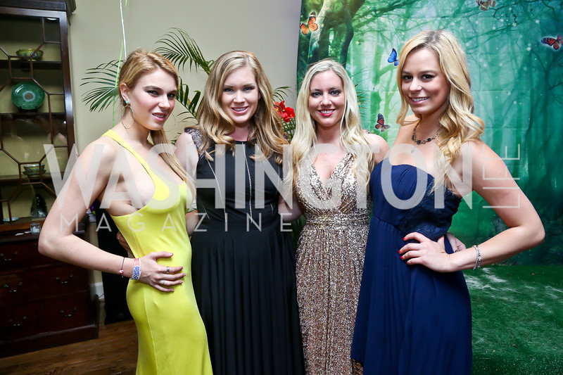 Caroline Hendrick, Leigh Maxwell, Rachel Williams, Laura Curtis. Photo by Tony Powell. 2014 Bachelors and Spinsters Ball. City Tavern Club. April 11. 2014