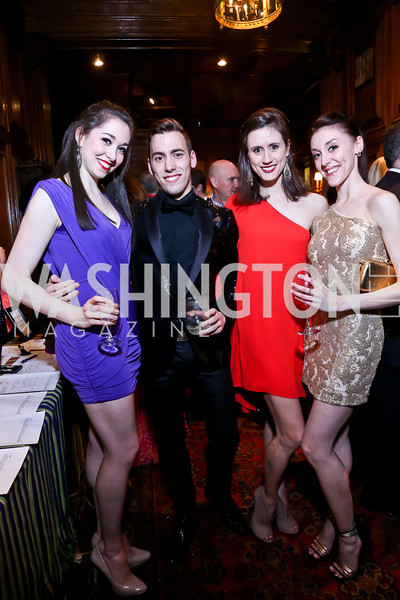 Washington Ballet dancers Olivia Lipnick, Daniel Savetta, Aurora Dickie, Laura Chachich. Photo by Tony Powell. 2014 Noche de Pasion. The Residence of the Ambassador of Colombia. February 8, 2014