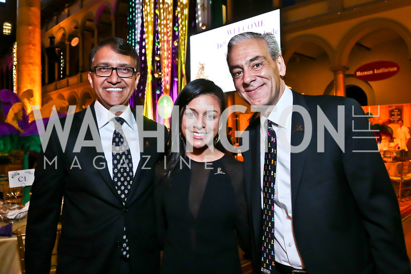 Gala Chairs Sanju Bansal and Charlotte Pineda Herrera, St. Jude's CEO Richard Shadyac. Photo by Tony Powell. 2014 St. Jude's Gourmet Gala. Building Museum. February 25, 2014
