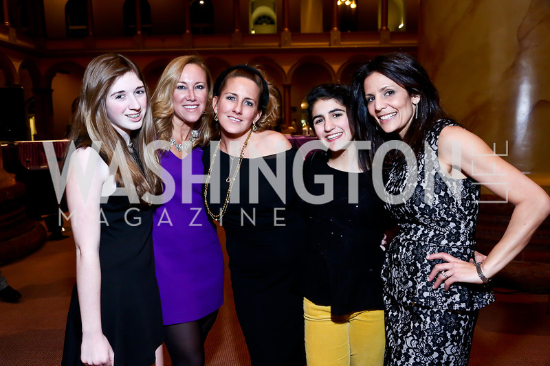Parker Gioia, Kaye Willis, Piper Gioia, Amelia and Eunice Mazloom. Photo by Tony Powell. 2014 St. Jude's Gourmet Gala. Building Museum. February 25, 2014