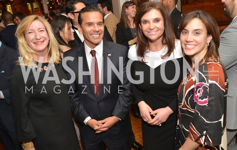 Amy Greene, Antonio Villaraigosa, Lori Kalani, Cristina Antelo, Cesar Chavez cast party at Oyamel. Diego Luna, America Ferrera and Rosario Dawson.  March 18, 2014. Photo by Ben Droz
