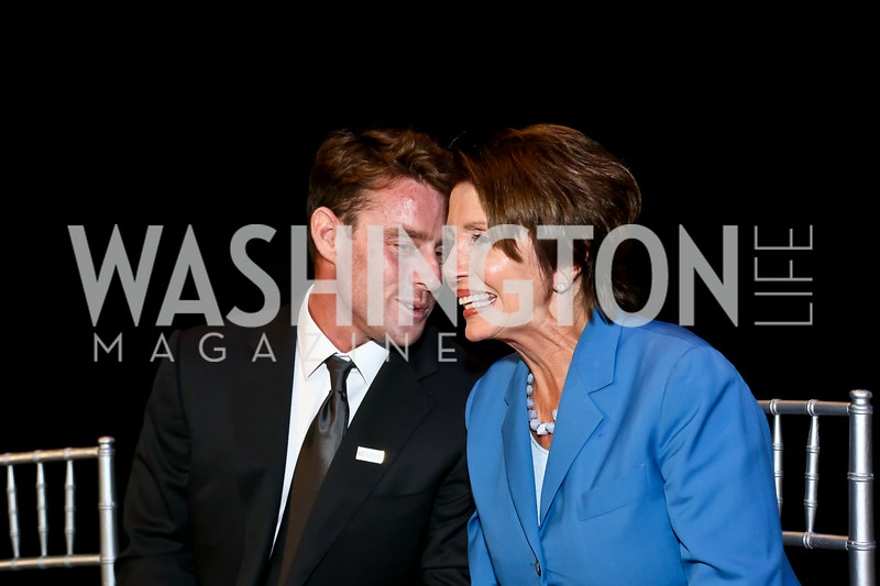 Jake Glaser, Leader Nancy Pelosi. Photo by Tony Powell. EGPAF 25th Anniversary Celebration. Newseum. June 24, 2014
