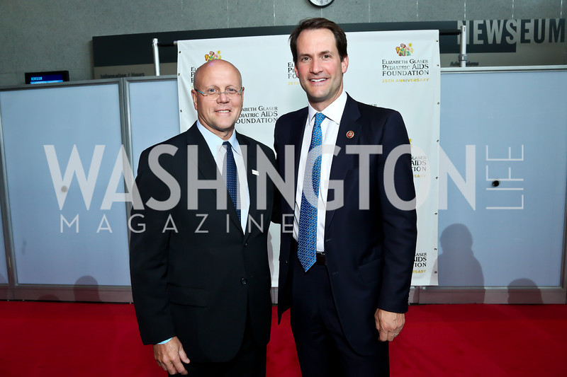 EGPAF President and Chief Executive Officer Charles Lyons, Rep. Jim Himes. Photo by Tony Powell. EGPAF 25th Anniversary Celebration. Newseum. June 24, 2014